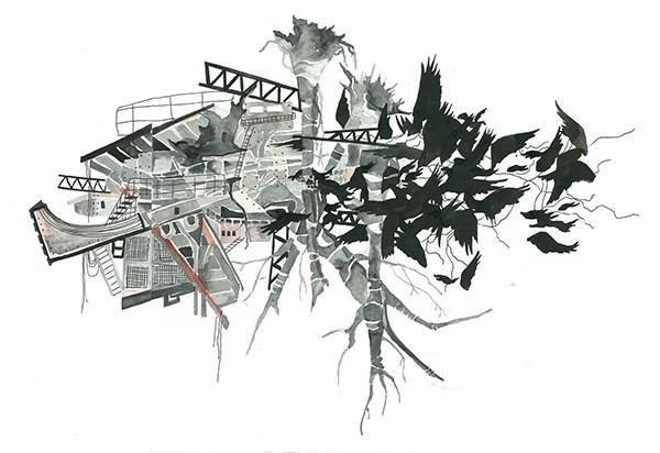 "Rotunda Study 2013 Watercolor on paper 8 ½ "" x 11"""