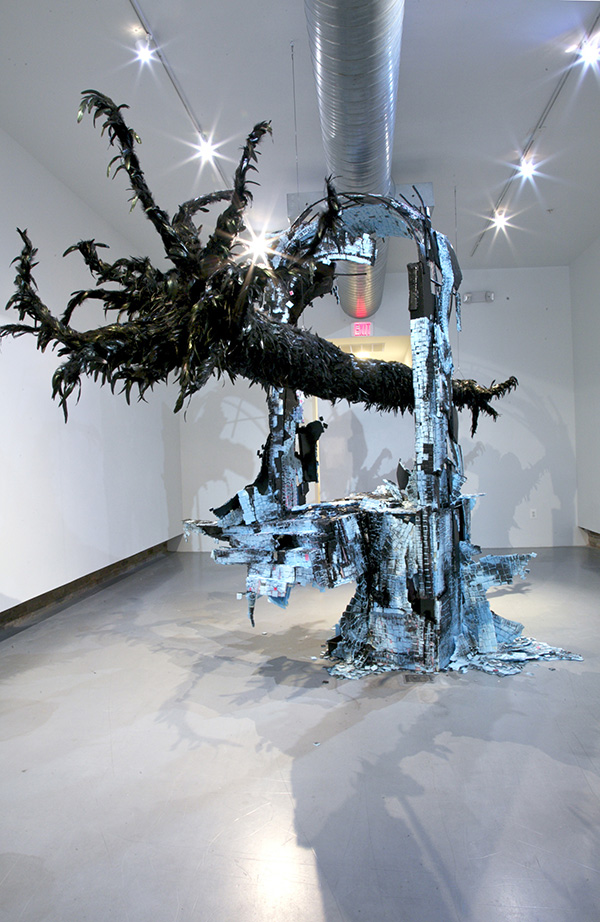 Reclamation Site 2012 Steel, styrofoam, black enamel, paper mache, black feathers approx. 14' x 8' x 7