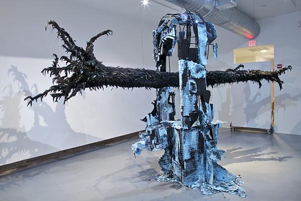 Reclamation Site 2012 Steel, styrofoam, black enamel, paper mache, black feathers approx. 14' x 8' x 7