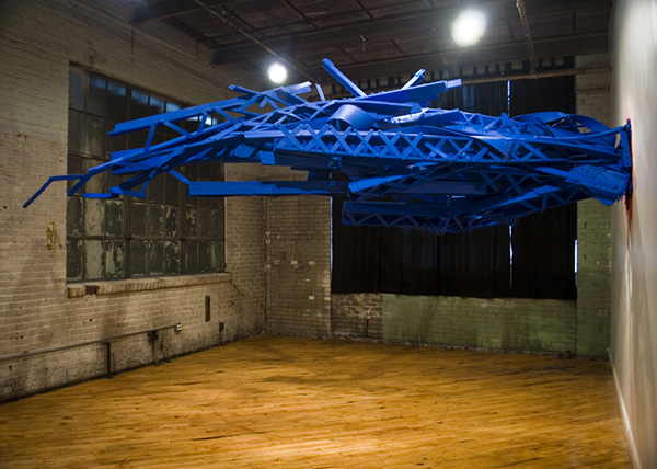 Collapse I 2009 styrofoam, enamel paint, steel 22' x 7' x 6'