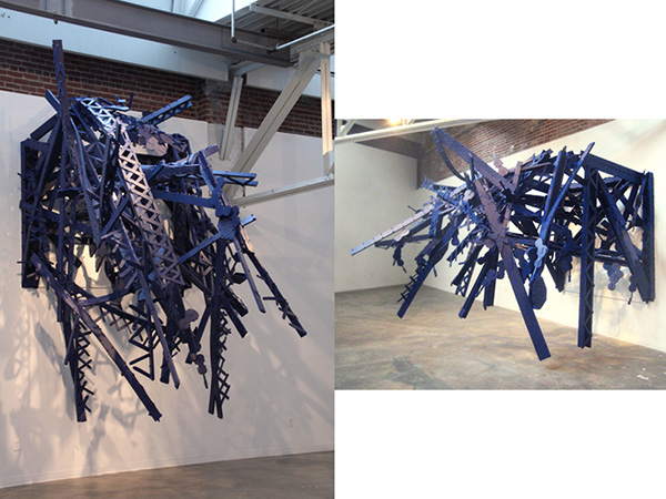 Bridge (Installation view, The Atlanta Contemporary Art Center, Atlanta, GA) 2010 steel, foam, paint dimensions variable
