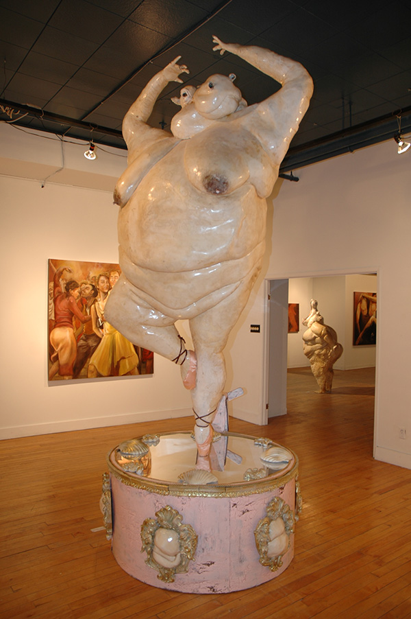 Twirl 2006, fiberglass, steel, mechanical parts, polyeuethane foam, plaster, 14' x 5' x 5' kinetic, interactive sculpture