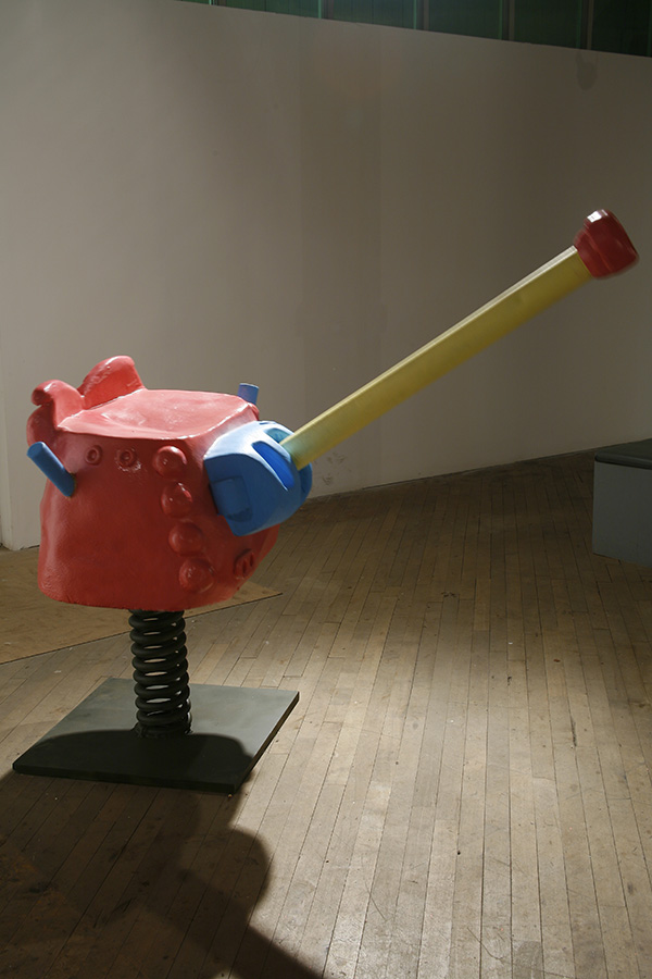 Turret 2006 steel, fiberglass, enamel approx 4' x 3' x 3' kinetic, interactive