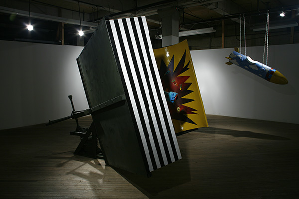 Pop Up Book 2006 steel, enamel paint, styrofoam, polyeurethane spray-on coating, mechanical parts, open book: 6' x 10' x 14', closed book: 6' x 10' x 3' kinetic and interactive sculpture, book opens and closes