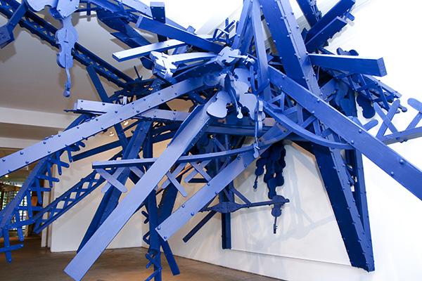Bridge (installation view, Firehouse Gallery, Burlington VT) 2010 steel, foam, paint dimensions variable